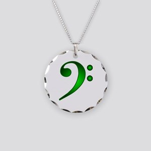 Green Metallic Bass Clef Necklace Circle Charm