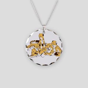 Cheetah Family Necklace Circle Charm
