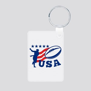 American USA Rugby Aluminum Photo Keychain