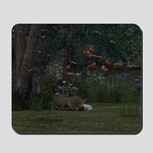 Fawn and Rabbit Mousepad
