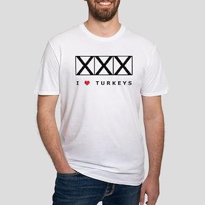 Bowling, I Love Turkeys Fitted T-Shirt