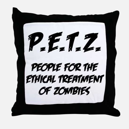 Black P.E.T.Z. Throw Pillow