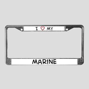 I Love Marine License Plate Frame