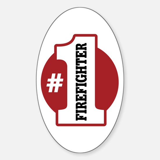 #1 Firefighter Sticker (Oval)