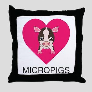 Love Micropigs Throw Pillow