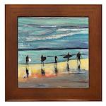 Surfer Beach Framed Tile