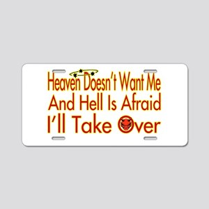 Heaven And Hell Aluminum License Plate
