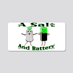 A Salt And Battery Aluminum License Plate