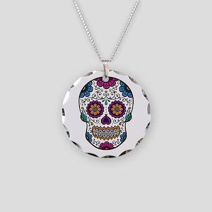 Sugar Skull Necklace Circle Charm