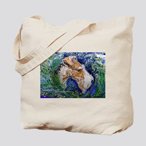 Fox Terrier in Blue Tote Bag