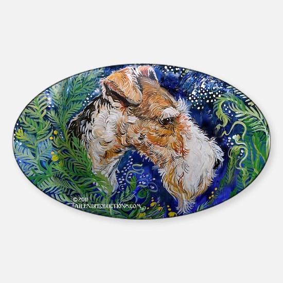 Fox Terrier in Blue Sticker (Oval)