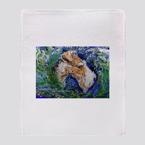 Fox Terrier in Blue Throw Blanket