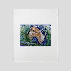 Fox Terrier in Blue Throw Blanket