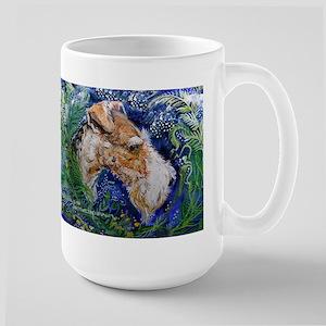 Fox Terrier in Blue Large Mug