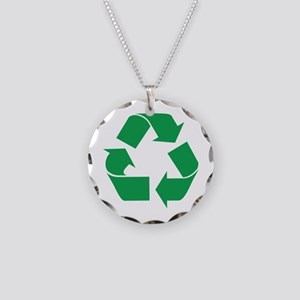 Green Recycle Necklace Circle Charm
