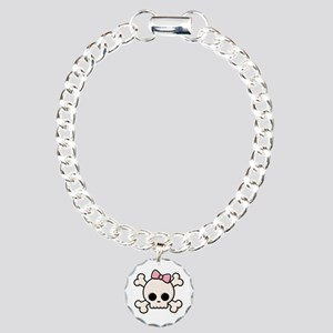 Cute Skull Girl Charm Bracelet, One Charm