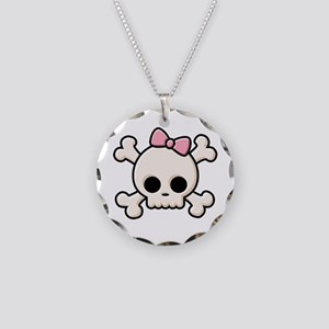 Cute Skull Girl Necklace Circle Charm