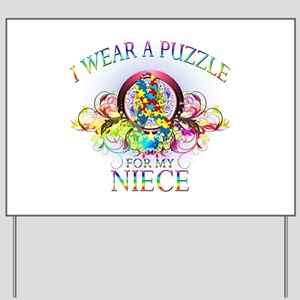 I Wear A Puzzle for my Niece (floral) Yard Sign