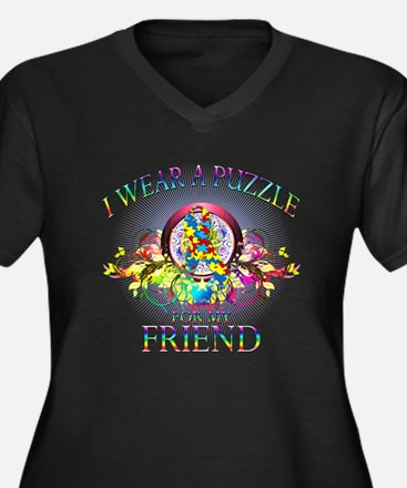 I Wear A Puzzle for my Friend (floral) Women's Plu