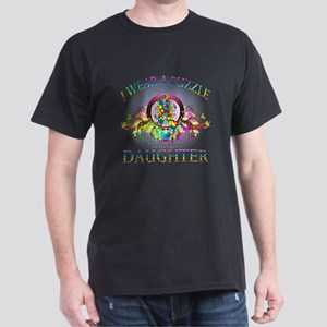I Wear A Puzzle for my Daughter (floral) Dark T-Sh