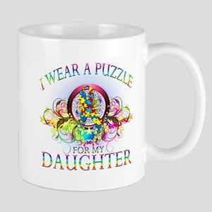 I Wear A Puzzle for my Daughter (floral) Mug