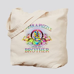 I Wear A Puzzle for my Brother (floral) Tote Bag
