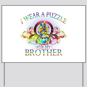 I Wear A Puzzle for my Brother (floral) Yard Sign