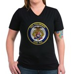 USS COLUMBUS Women's V-Neck Dark T-Shirt