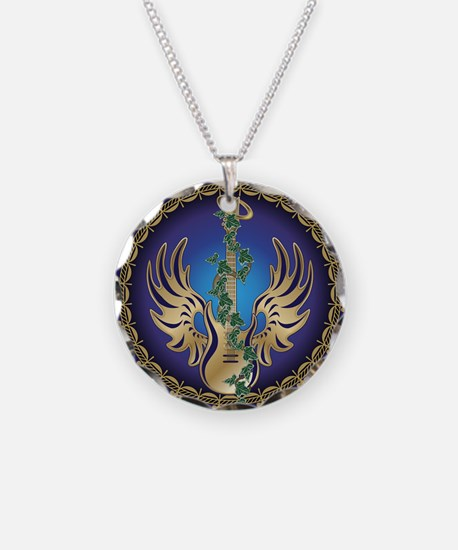 Heavenly Winged Guitar Necklace