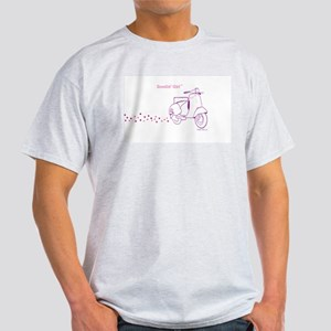 Scootin' Girl Dots Design Ash Grey T-Shirt