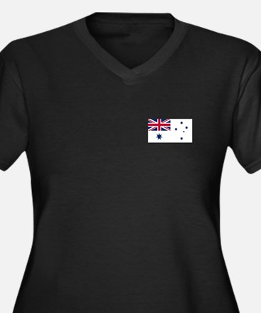 Australian Flag Women's Plus Size V-Neck T (Dark)