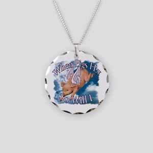 When Pigs Fly Necklace Circle Charm