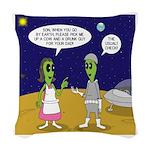 Alien Shopping Woven Throw Pillow