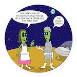 Alien Shopping Round Car Magnet
