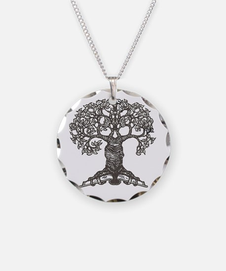 The Reading Tree Necklace Circle Charm