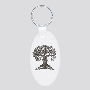 The Reading Tree Aluminum Oval Keychain