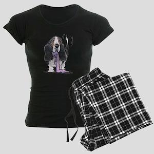 Tricolor Basset Playtime Women's Dark Pajamas
