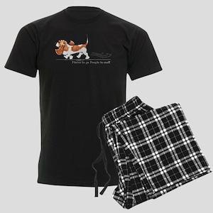 Basset Hound Places Men's Dark Pajamas