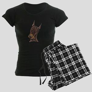 Red Rust Doberman Pinscher Women's Dark Pajamas