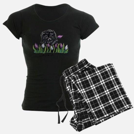 Black Pomeranian Tulips Pajamas