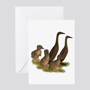 Chocolate Runner Duck Family Greeting Card