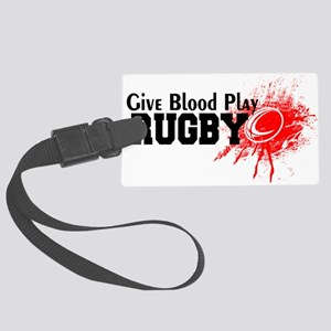 Give Blood Play Rugby Large Luggage Tag