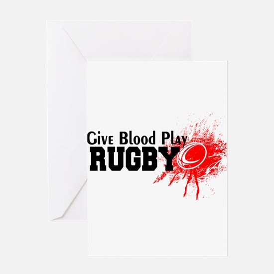 Give Blood Play Rugby Greeting Cards