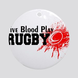 Give Blood Play Rugby Round Ornament