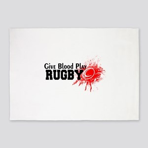 Give Blood Play Rugby 5'x7'Area Rug