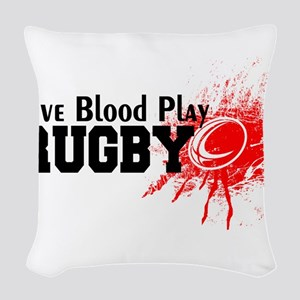 Give Blood Play Rugby Woven Throw Pillow