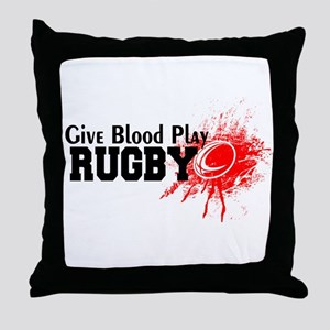 Give Blood Play Rugby Throw Pillow