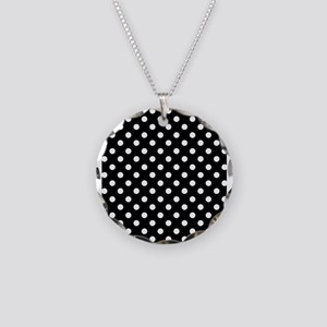 Black and White Polka Dot Necklace Circle Charm