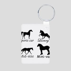 Horse Cars Aluminum Photo Keychain