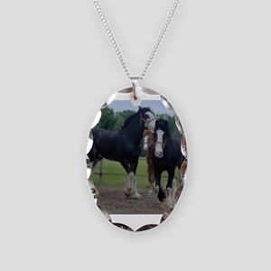 Horse Necklace Oval Charm